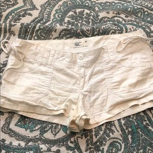 American eagle white shorts with tie side detail